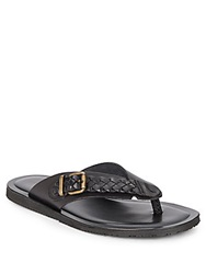 Massimo Matteo Woven Leather Strap Thong Sandals Black