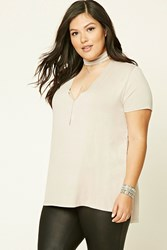 Forever 21 Plus Size Mock Neck Tee Tan