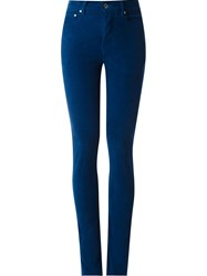 Amapa High Waisted Velvet Skinny Trousers Blue