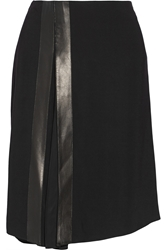 Reed Krakoff Leather Trimmed Stretch Cady Skirt