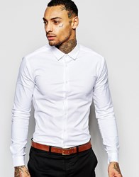 Asos Skinny Oxford Shirt In White With Long Sleeves White