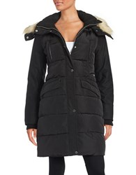 French Connection Faux Fur Trimmed Puffer Coat Black