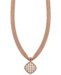 Charter Club Rose Gold Tone Basket Pendant Necklace Only At Macy's