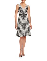 Adrianna Papell Lace Fit And Flare Dress Black Ivory