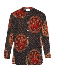 Gucci Medallion Print Collarless Cotton Shirt Black Multi