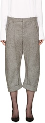 Dsquared Grey Cropped Tweed Kawaii Trousers