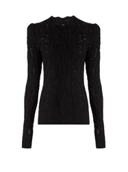 Isabel Marant Emi Twisted Cable Knit Wool Blend Sweater Black