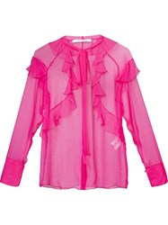 Givenchy Sheer Ruffled Shirt Pink And Purple