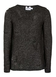 Topman Black Twist Ripped Longline Sweater
