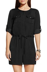 Women's Vince Camuto Roll Sleeve Romper Rich Black