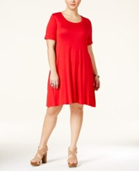 American Rag Plus Size Short Sleeve Skater Dress Only At Macy's Red