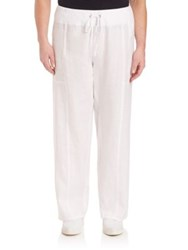 Eileen Fisher Plus Size Organic Linen Wide Leg Pants Natural White