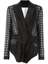 Marc Le Bihan Deconstructed Checked Blazer Black