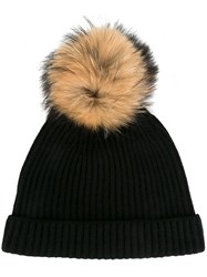 N.Peal Detachable Pompom Ribbed Beanie Black