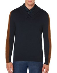 Perry Ellis Regular Fit Color Block Pullover Dark Sapphire