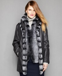 The Fur Vault Shawl Collar Jacket And Removable Rabbit Fur Vest Black Dark Grey