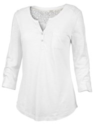 Fat Face Lace Insert Henley T Shirt White