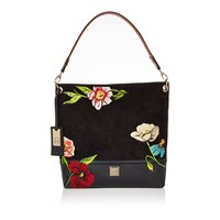 River Island Womens Black Floral Embroidered Slouch Handbag