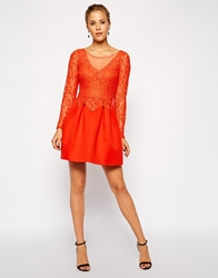 Asos Lace Top Premium Prom Dress Red