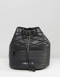 Armani Jeans Quilted Drawstring Backpack Black 00020