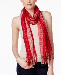 Collection Xiix Striped Open Weave Scarf White