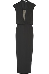 Brunello Cucinelli Chain Embellished Silk Crepe Gown Gray