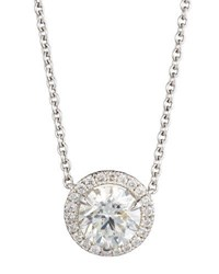 Nm Diamond Collection 18K White Gold Solitaire Pendant Necklace With Pave Halo 1.03Ctw G Si2