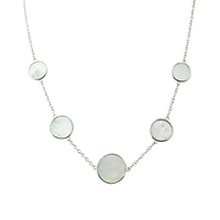A B Davis Silver Mother Of Pearl Pendant Necklace Silver