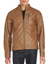 Buffalo David Bitton Glossy Solid Long Sleeve Jacket Tan