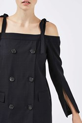 Topshop Double Breasted Off Shoulder Dress By Boutique Navy Blue