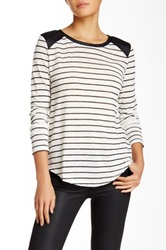 Townsen Mixed Media Linen And Faux Leather Washington Long Sleeve Top Black
