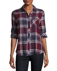 Beachlunchlounge Leigh Plaid Button Down Blouse Wine