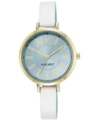 Nine West Women's White And Light Blue Leather Strap Watch 35Mm Nw 1860Lbwt