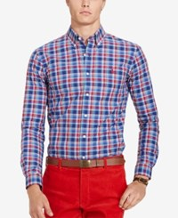 Polo Ralph Lauren Men's Relaxed Fit Checked Poplin Shirt Red Navy