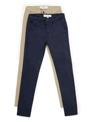 Topman Navy And Stone Stretch Skinny Chino Multipack Blue