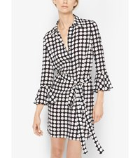 Graphic Dot Bell Sleeve Silk Dress Black White