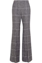 Calvin Klein Collection Checked Wool Wide Leg Pants Gray