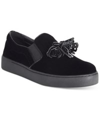 Nine West Position Embellished Flat Sneakers Women's Shoes Black Velvet