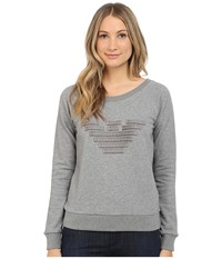 Armani Jeans Giorgio Armani Grosgrain Eagle Sweatshirt Heather Grey Women's Sweatshirt Gray