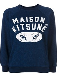 Maison Kitsune Logo 'Fox Eyes' Sweatshirt Blue