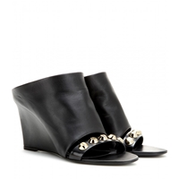 Balenciaga Classic Screw Embellished Leather Mules Black