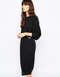 Paisie Relaxed Jersey Dress With Cold Shoulder Black