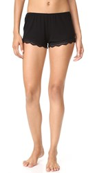 Only Hearts Club Feather Weight Rib Lace Trim Sleep Shorts Black