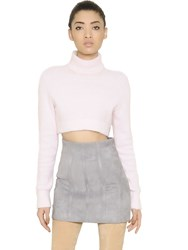 Balmain Cropped Angora Turtleneck Sweater
