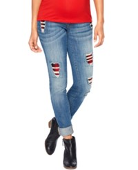 Motherhood Maternity Distressed Skinny Jeans Medium Wash