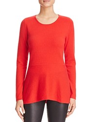 Bloomingdale's C By Peplum Cashmere Sweater Cherry
