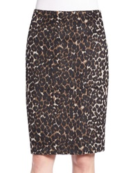 Lord And Taylor Animal Print Pencil Skirt Black