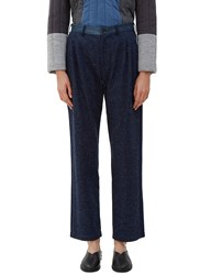 Schmidttakahashi Front Pleat Denim Patchwork Pants Navy