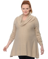 Motherhood Maternity Plus Size Cowl Neck Sweater Natural