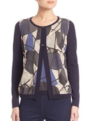 Piazza Sempione Abstract Printed Cardigan Blue Grey
